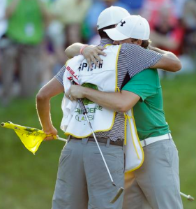 Jordan Spieth Hugs His Caddy
