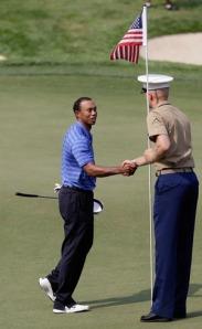 Tiger thanks a Marine