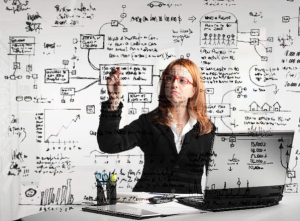 Woman working on equations