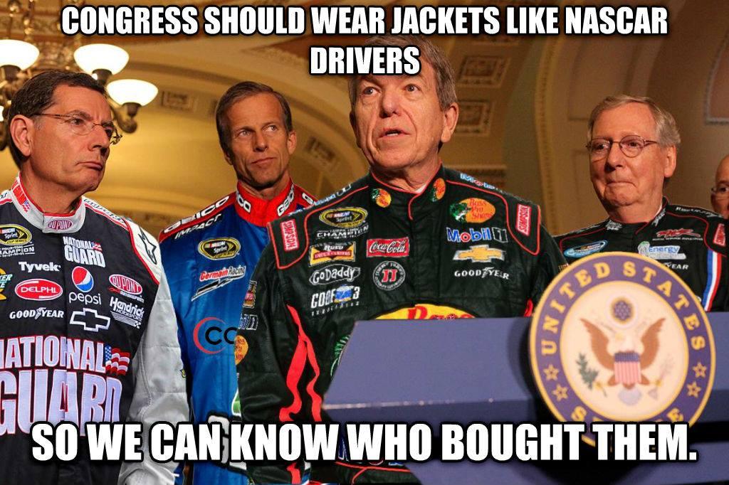 Senators in NASCAR-like jackets