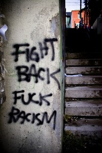 Graham Case Fuck Racism graffiti October 2006